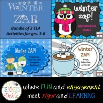 Winter ZAP Bundle of Three ELA Activities for grs. 3-6