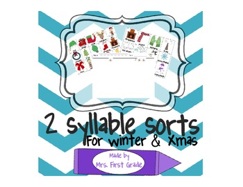 Winter and Holiday Syllable Sort
