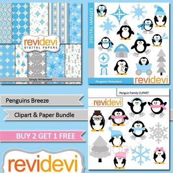 Winter clip art / cute penguins / blue, grey / teacher sel