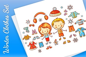 Winter clothes set for a boy and a girl, items can be put on