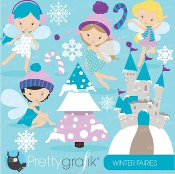 Winter fairies clipart commercial use, vector graphics - CL605