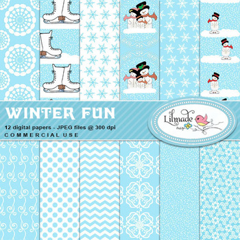 Winter fun Christmas and winter inspired digital papers an