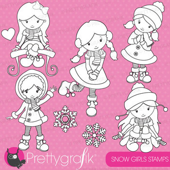 Winter girls stamps commercial use, vector graphics, image
