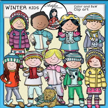Winter kids clip art- Color and B&W