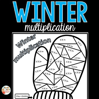 Winter mitten multiplications color by number