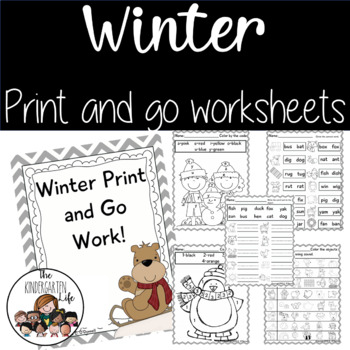 Winter print and go worksheets: common core, word work, numbers