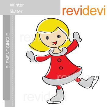 Winter skater clip art / blonde girl in red dress E017