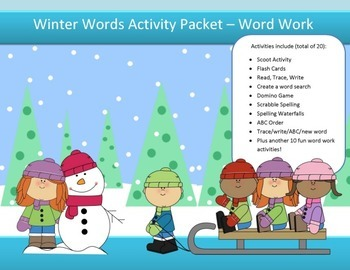 Winter spelling packet by SpellingPackets.com with 15 word