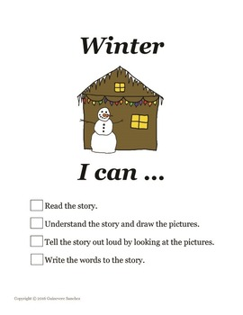 Winter story w/ seasonal clothing, weather & activities -