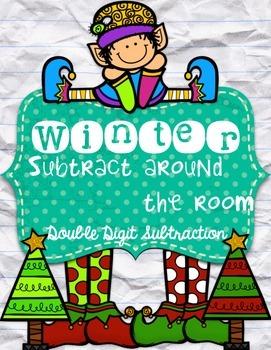 Winter subtract around the room-double digit subtraction {