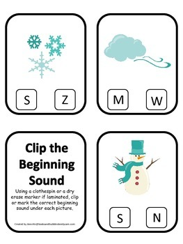 Winter themed Beginning Sounds preschool learning game.  D