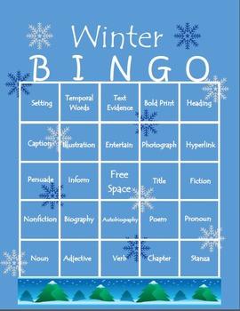 Winter themed ELA Bingo Boards
