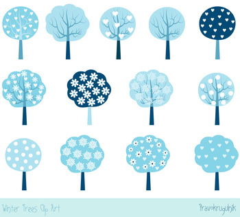 Winter trees clipart set, Blue holiday trees clip art, Sea