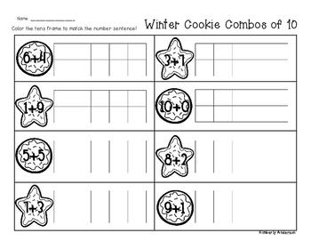 Winter/Christmas Cookie Combos of Ten - Number Sense