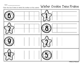 Winter/Christmas Cookie Tens Frame - Number Sense (1-10)