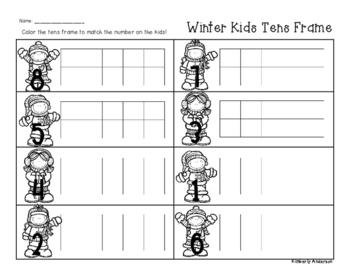 Winter/Christmas Kids Tens Frame - Number Sense (1-10)