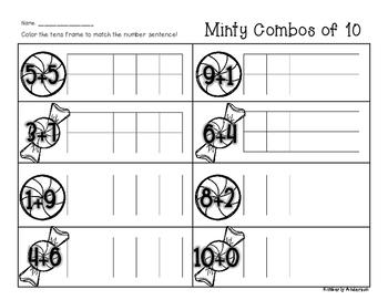 Winter/Christmas Minty Combos of Ten - Number Sense