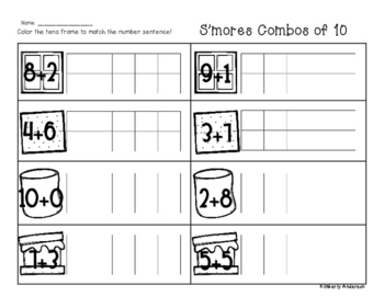 Winter/Christmas S'mores Combos of Ten - Number Sense