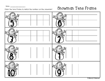 Winter/Christmas Snowman Tens Frame - Number Sense (1-10)