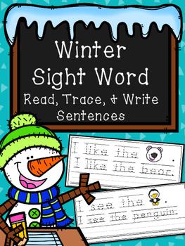 Winter Trace & Write Sight Word Sentences