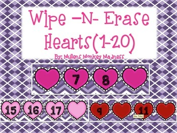 Wipe~N~Erase Hearts: Number Sequencing
