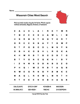Wisconsin Cities Word Search (Grades 3-5)