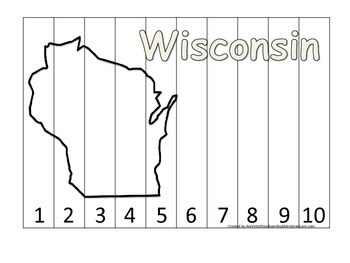 Wisconsin Number Sequence Puzzle.  Learn the States presch