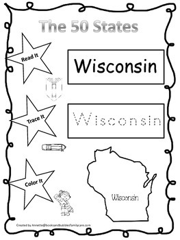 Wisconsin Read it, Trace it, Color it Learn the States pre