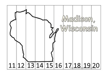 Wisconsin State Capitol Number Sequence Puzzle 11-20.  Geo