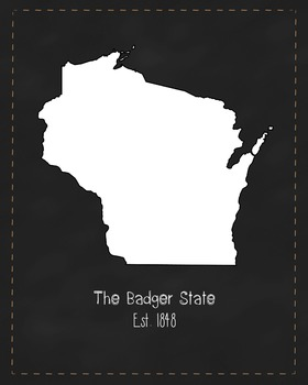 Wisconsin State Map Class Decor, Government, Geography, Bl