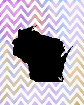 Wisconsin Chevron State Map Class Decor, Classroom Decoration