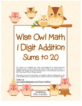 """Wise Owl Math"" Add Within 20 - Common Core - Addition Fun"