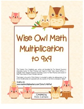 """Wise Owl Math"" Multiplication to 9x9 - Common Core - Fun!"