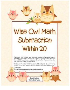 """""""Wise Owl Math"""" Subtract Within 20 - Common Core - Subtrac"""