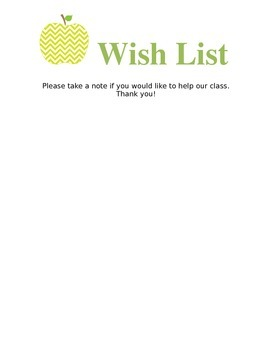 Wish List - for supplies