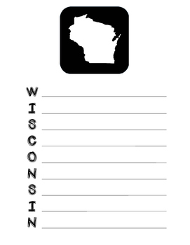 Wisconsin State Acrostic Poem Template, Project, Activity,