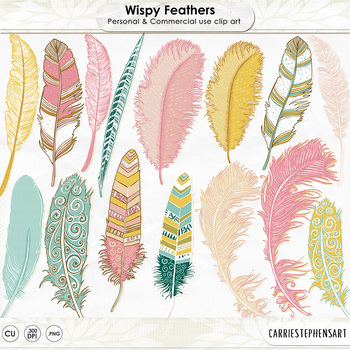 Wispy Aztec Feather Clip Art, Feather ClipArt Images, Pink