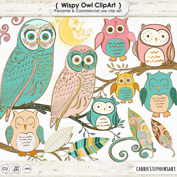 Whimsical Owl Clip Art, Vintage Style Owl ClipArt Images,