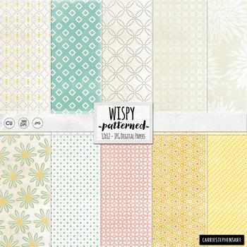 Wispy Patterned Digital Papers, Baby Girl Pastel, Pink, Ye
