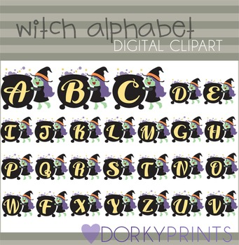 Witch Alphabet Halloween Clip Art