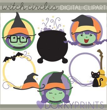 Witch Circles Halloween Clip Art