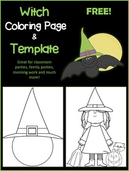 Witch Coloring Page & Template- FREE!