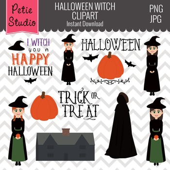 Witch Girls Clipart, Spooky House, Halloween Clipart - Fall111