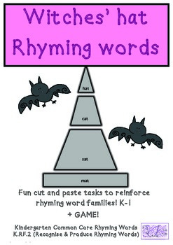 Halloween Witch Hats Common Core Rhyming  K.RF.2 Cut & Pas