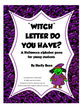 """""""Witch"""" Letter Do You Have? Alphabet game(color and black line)"""