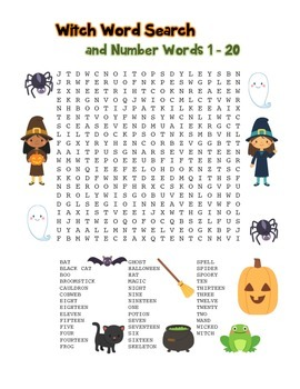 """""""Witch & Number Words"""" – Word Search – Halloween Fun! (Ful"""