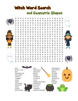 """""""Witch Words & Geometric Shapes"""" – Word Search – Halloween"""