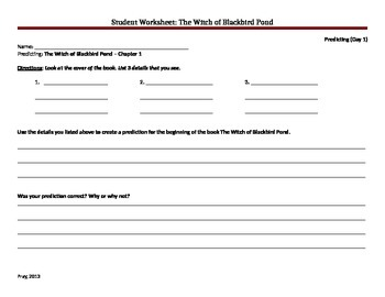 Witch of Blackbird Pond Student Worksheets