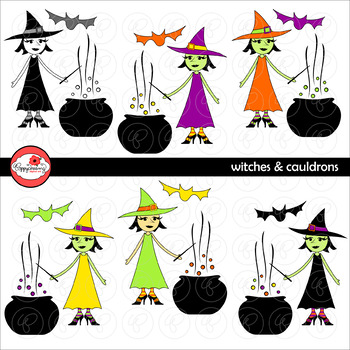 Witches & Cauldrons Halloween Clipart by Poppydreamz