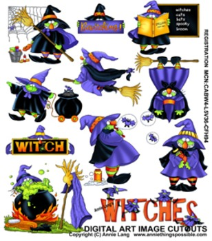 """""""Witches"""" Halloween Character Image Clipart"""